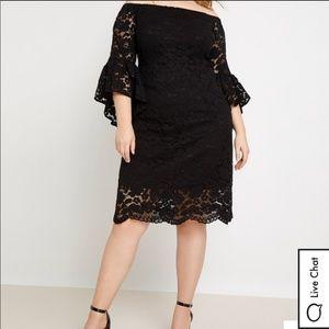 Eloquii Off the shoulder Black lace dress